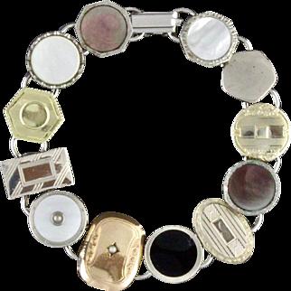 Handmade Cufflink Bracelet Fashioned With Original Vintage 1920s Art Deco Cufflinks