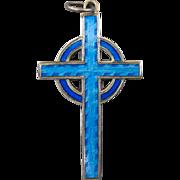 Vintage Sterling Silver And Blue Enamel Celtic Christian Cross