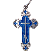 Vintage Russian Sterling Silver And Blue Enamel St. Nicholas Budded Cross Pendant