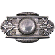 Antique Victorian Sterling Silver Aesthetic Period Locket Brooch