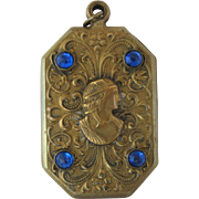 Vintage Art Nouveau Brass and Glass Cameo Slide Locket