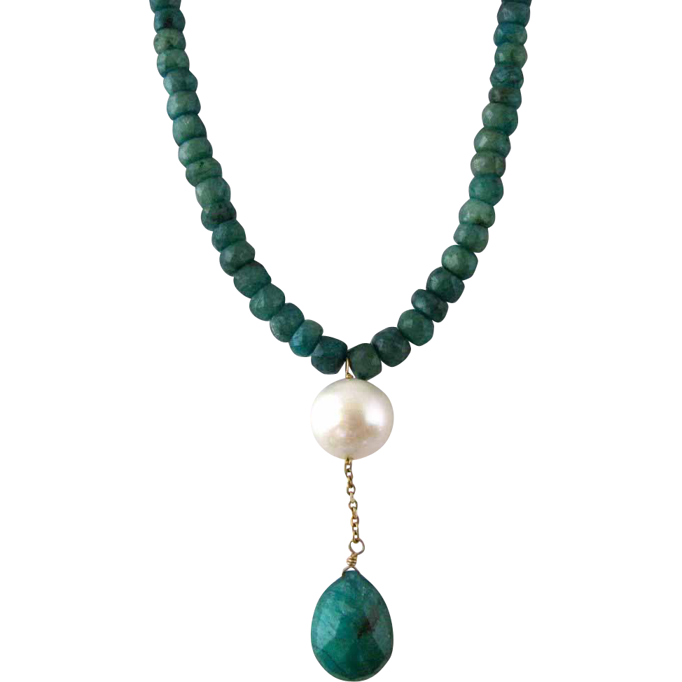 vintage faceted emerald bead and pearl drop necklace sold