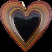 Vintage Iro-urushi Japanese Lacquer Double Sided Heart Pendant