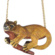 Hand Carved And Painted Tagua Nut Cougar Pendant