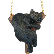 Hand Carved And Painted Tagua Nut Black Panther Pendant
