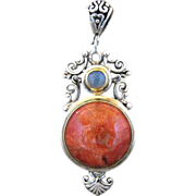 Spiny Oyster Coral Moonstone And Sterling Silver Pendant