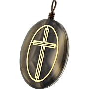 Vintage Grey Banded Agate And Brass Cross Pendant