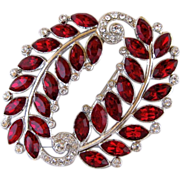 Vintage Kramer Red Marquise And Clear Rhinestone Pin