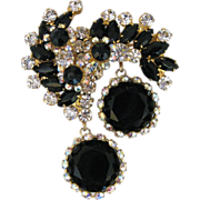 Vintage Juliana Black Glass And Rhinestone Pin