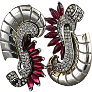 Vintage Boucher Vermeil Sterling Silver Red Glass And Rhinestone Pair Of Pins