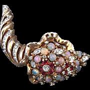 Vintage Reja Rhinestone and Faux Opal Cornucopia Pin