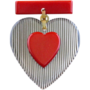 Vintage Red Bakelite And Reversed Carved Lucite Heart Pin