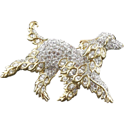 Vintage Signed Swarovski Rhinestone Running Dog Pin