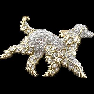 Vintage Signed Swarovski Rhinestone Running Dog Pin