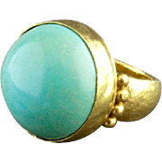 24K Gold And Sleeping Beauty Turquoise Ring By Gurhan