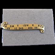 Vintage Stock Market Ticker Tape Tie Bar