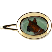 Vintage Reverse Cut Crystal Intaglio Boxer Dog Tie Bar By Foster