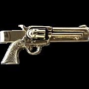 Vintage Six Shooter Revolver Gun Tie Clip