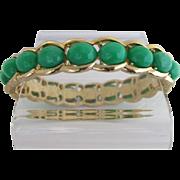 Vintage Trifari Green Lucite Hinged Bracelet