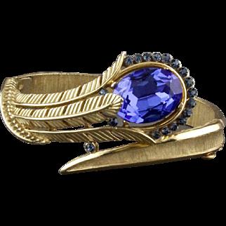 Vintage Trifari Cobalt Blue Rhinestone Feather Hinged Bracelet