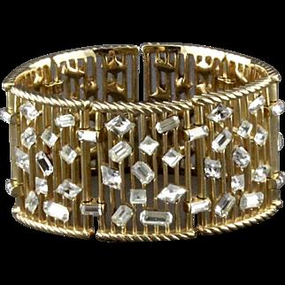Vintage Trifari Abstract Rhinestone Link Bracelet