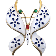 Vintage Trifari Pet Series White And Blue Butterfly Pin
