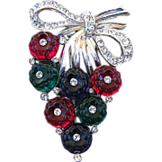 Vintage Trifari Large Glass Fruit Salad And Rhinestone Fur Clip Designed By Alfred Philippe