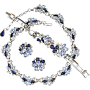Vintage Trifari Blue Rhinestone Flower Necklace Bracelet And Earring Parure Set