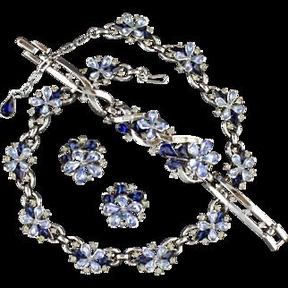 Vintage Trifari Blue Rhinestone Flower Necklace Bracelet And Earring Parure Set
