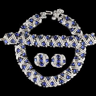 Vintage Trifari Blue Glass Necklace Bracelet And Earring Parure Set