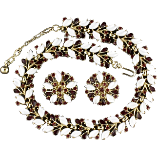 Vintage Trifari Red Rhinestone And White Plastic Necklace And Clip Back Earring Set