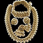 Vintage Trifari Chantilly Necklace Bracelet Earring And Pin Grand Parure Set