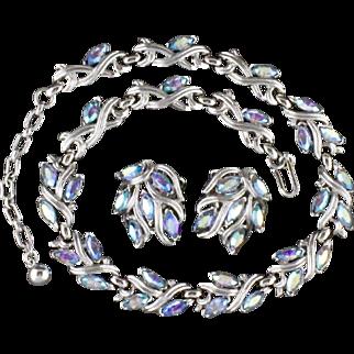Vintage Trifari Blue Aurora Borealis Rhinestone Necklace And Clip Back Earring Set