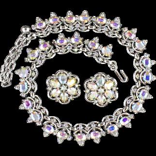 Vintage Trifari Aurora Borealis Rhinestone Necklace And Clip Back Earring Set