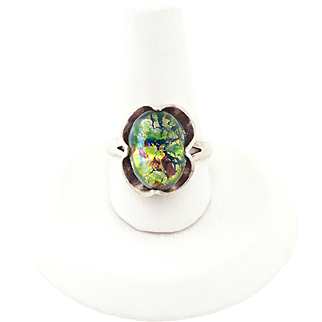 Vintage Foil Glass Ring - Mexican Opal Ring - Harlequin Glass Ring - Sterling Silver - Size 7