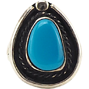 Vintage Native American Turquoise Ring In Sterling Silver - Sleek Simplistic Design - Size 9 - Vibrant Blue Stone