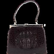 Vintage Crocodile Purse - Hornback Crocodile Handbag - Chocolate Brown Purse - Vintage Purse - Suede Interior