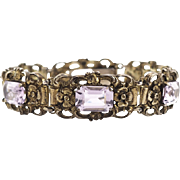 European Vintage Silver Link Bracelet With Flowers and Purple Crystals