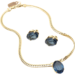 Gorgeous Classic Faux Vintage Sapphire Necklace and Earrings by D'Orlan