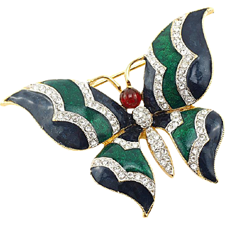 D'Orlan Butterfly Brooch With Enamel and Crystals