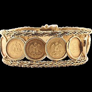 Vintage 18k Gold Mexican Dos Pesos Coin Bracelet