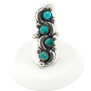 Vintage Native American Ring in Sterling Silver and Turquoise - Long Ring - Snake Eye - Knuckle Ring - Size 5 1/2