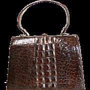 Vintage Crocodile Purse - Hornback Crocodile Handbag - Chocolate Brown Purse - Vintage Fashion Accessory - Suede Interior