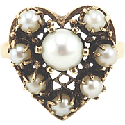 Big Romantic Vintage Cultured Pearl Heart Ring in 14k Gold