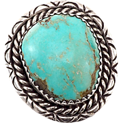 Vintage Artist Signed Native American Ring in Sterling with Turquoise