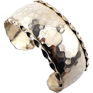 Vintage Silver Cuff Bracelet With Hammered Design and Scalloped Edges