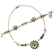 Vintage Designer Necklace and Bracelet Set With Emerald Green Flowers by Barclay
