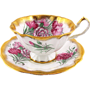 Vintage Queen Anne Teacup with Heavy Gold Floral Teacup