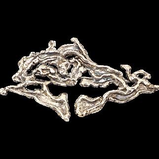 Vintage Brutalist Brooch Freeform Design in Silver Tone