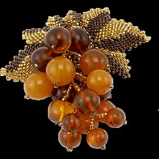 Large Vintage Amber Beaded Brooch With Seed Bead Leaves
